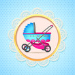 vector illustration of baby pram in baby shower card