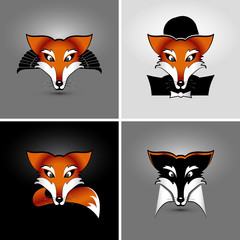 vector drawing of heads of four foxes