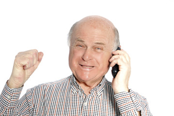 Happy senior man on his mobile phone