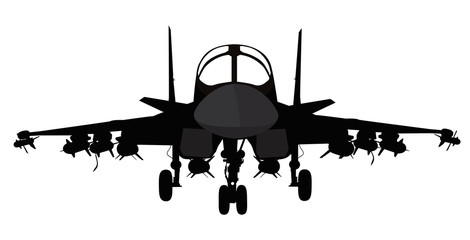 Fighter-bomber  aircraft vector silhouette