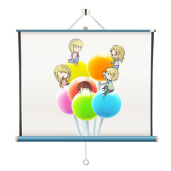 Kids on colorful lollipop printed on projector screen. isolated