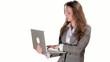 Secretary typing on laptop on white background