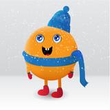 Cute orange fruit cartoon character