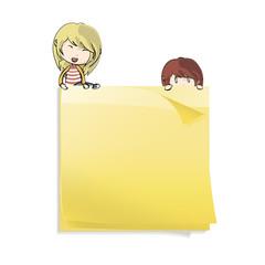 Yellow Post-it. Vector design