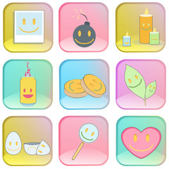 Collection of icons on colorful buttons.