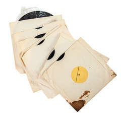 Old vinyl records in paper covers