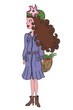 illustration of a fashion girl with basket