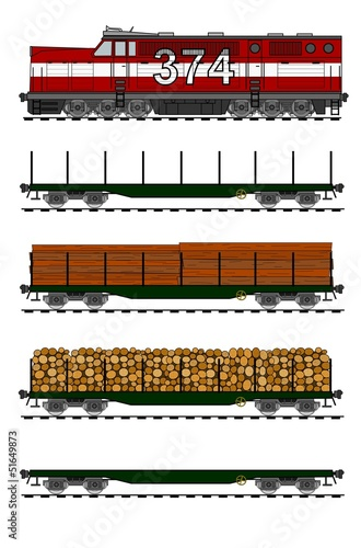 Kit of american style freight train loaded with wood trunks