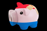 bankrupt piggy rich bank in colors of national flag of holland
