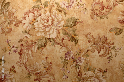 Vintage wallpaper with  floral pattern Poster