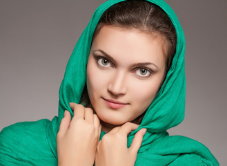 girl in green kerchief
