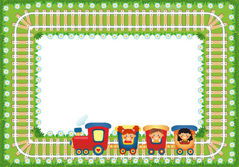 Frame with children riding train, place for text