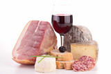 composition with wine,sausage and bread