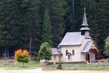 Church on lake Lago di Braies in Dolomiti Mountains - Italy Euro