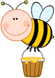 Smiling Bee Flying With A Honey Bucket