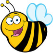 Happy Bee Cartoon Mascot Character