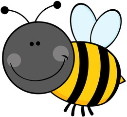 Smiling Bumble Bee Cartoon Character Flying