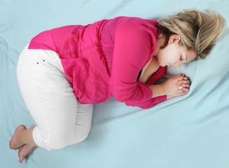 Sleeping overweight woman.
