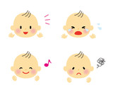 The various faces of the baby