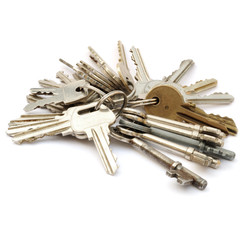 Bunches of keys on keyrings isolated