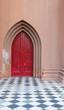 White Door Knob on Red Church Door