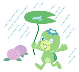 河童と雨とあじさい