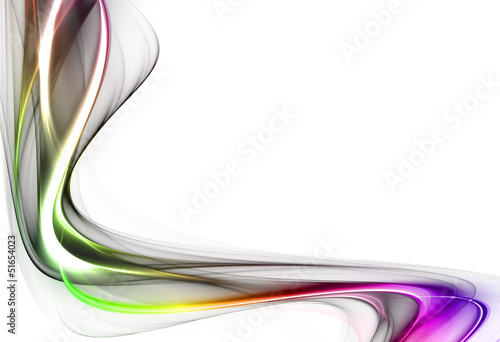 Abstract green and violet wave on white background