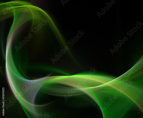 Abstract green smoke waves on black background