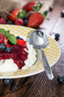 Rice Pudding with fruit sauce