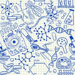 Biology doodles seamless pattern