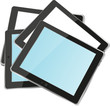 vertical tablet pc set with copyspace on the screen