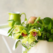 Closeup bridal orchid wreath
