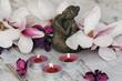 Fototapeten,buddhas,kerze,kerzenlicht,magnolie