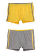 set of yellow and grey men's underwear isolated on white