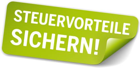 Sticker Grün Steuervorteile sichern