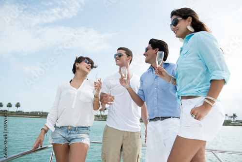 Group of friends on a boat