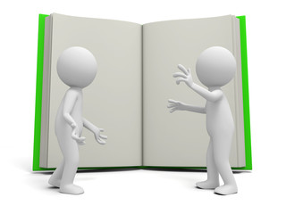 Two 3d persons discussing ,an opened book background