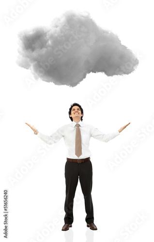 Business man under a cloud