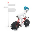 3D man with bike following a direction