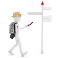 3D man with gps  following a direction