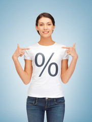 girl pointing at percent sign