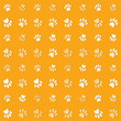 Illustration animals paws print on a yelow background