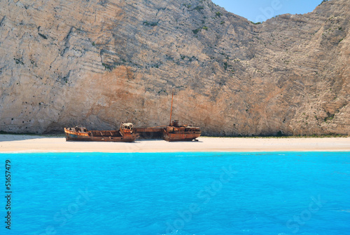 Navagio beach with shipwreck on the island of Zakynthos Greece