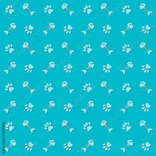 Background with cat paw print and fish bone