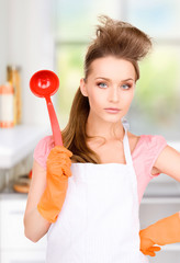 housewife with red ladle