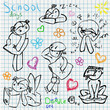 School doodle set, children activity pen sketch