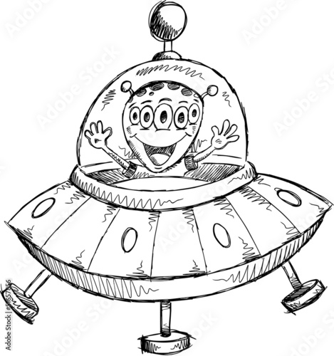 UFO Alien Sketch Doodle Illustration Art