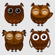 Vector set of cartoon owls