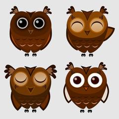 Vector set of cartoon owls
