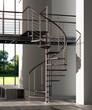 Leinwanddruck Bild - Scala a chiocciola legno e metallo